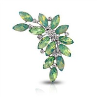 Amazon.com: Bling Jewelry Green Peridot Color Marquise Crystal Bridal Leaf Brooch Pendant Pin: Jewelry