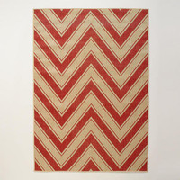 4.9'x6.9' Red Chevron Indoor-Outdoor Rug | World Market