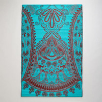 4'x6' Red and Blue Antigua Paisley Rio Floor Mat | World Market