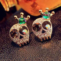 Rhinestone Skull Head with Crown Earrings 061023