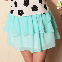 Sweet Chiffon Wave Mini Skirt