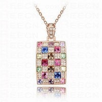 Cube Multicolor Austria Swarovski Crystal Pendant Gilded Necklace - Swarovski Necklaces - Necklaces - Jewelry