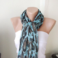 Blue Leopard Colors Cotton Long Scarf with wrinkle by Periay