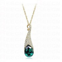 Dark Green Teardrop Swarovski Austria Crystal Diamond Eye Pendant Gold Plated Necklace - Swarovski Necklaces - Necklaces - Jewelry