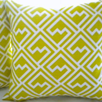 Geometric Designer pillow cover Light green and white 18 x 18