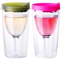 Vino2Go Set of 2 Double Wall Insulated Acrylic Wine Tumblers