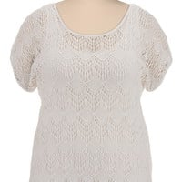 Scoop Neck Open Crochet Top