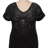 V-Neck Cinched Back Foil Spray Top