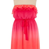 Ombre Ruffle Front Tube Dress