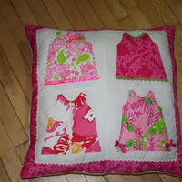 Shift dress pillow made with assorted Lilly Pulitzer fabrics