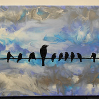 Birds on the Wire Melted Crayon Painting by OnceUponACrayon