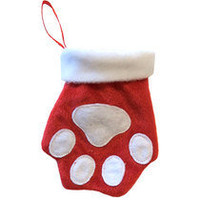 Red Pawprint Stocking - Dog Supplies