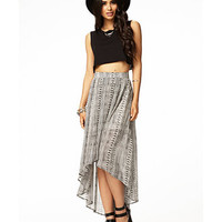 Striped Tribal Print High-Low Skirt | FOREVER 21 - 2036328769
