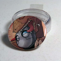 "Comic Book 1.5"" Button// Atomic Robo getting chewed on by a dinosaur"