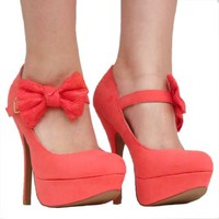 Women's Qupid Coral Mary Jane Bow High Heel Stiletto Pump (Onyx74)