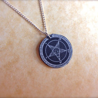 baphomet goat pentagram necklace black dark star pendant small tiny charm