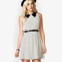 Polka Dot Mesh Collar Dress