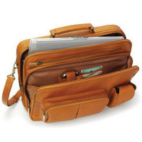 The Organized Traveler's Leather Laptop Bag - Hammacher Schlemmer