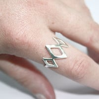 Triple Diamond Ring, Sterling Silver Ring, Diamond Shapes