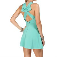 Mint Bow Back Sleeveless Short Dress