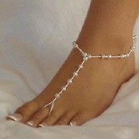 Amazon.com: Fashion Jewelry ~ White Faux Pearls Accented with White Seed Beads Barefoot Sandals Beach and Pool Anklets (Pair() Style TS114 Ali): Jewelry