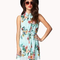 Sleeveless Floral Shirt Dress