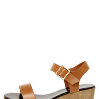 Stino 1 Tan Single Strap Flatform Wedge Sandals