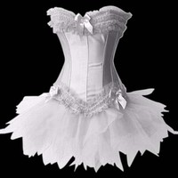 Graceful Beauty White Lace Bows Satin Stabilized Yarn Corset With Tulle Skirt [TML0406] - $67.99 : Zentai, Sexy Lingerie, Zentai Suit, Chemise