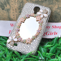 handmade flower mirror bling clear crystal rhinestone case for Samsung galaxy s4 i9500 s2 T989 Hercules  Epic Touch Sprint D710 s3 i9300