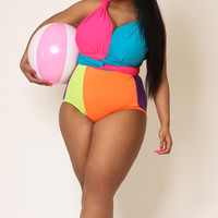 Bright Delight Convertible Swimsuit PLUS SIZE by naKiMuli on Etsy