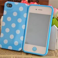 Colorful Cute Polka Dots Soft Shell Case Cover for iPhone 4 4S+Button Sticker