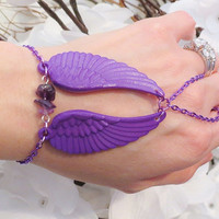 Purple Angel Wing Slave Bracelet Ring. Acrylic Angel Wing Charms with Genuine Amethyst Quartz Gemstone Beads. Purple Metallic Steel Chain.