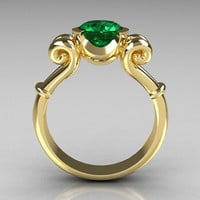 Modern Antique 14K Yellow Gold 1.0 Carat Round Emerald Designer Solitaire Ring R122-14YGEM