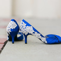 Wedding Shoes - Royal Blue Wedding Heels, Blue Satin Heels with Ivory Lace. US Size 9