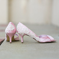 Wedding Shoes - Light Pink Wedding Shoes, Pink Bridal Heels with Ivory Lace. US Size 7.5