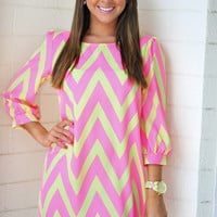 HOPE'S: Cheery For Chevron Dress: Neon Pink | Hope's