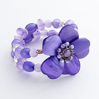 Croft and Barrow Bead Flower Multistrand Stretch Bracelet