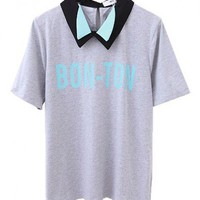 Grey T-shirt with Contrast Double Layer Collar and Letter Print