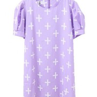 Longline Light Purple Chiffon T-shirt with Cross Print and Short Bubble Sleeves