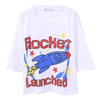 Oversized White T-shirt with Contrast Rockets Print and Cropped Sleeves