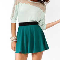 Lace Panel Dropped Shoulder Top