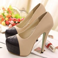 Contrast color stitching lattice Slugged bottom high-heeled shoes