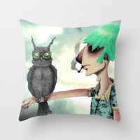 Punk N' A Bird Throw Pillow by Ben Geiger