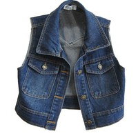 Retro Dark Blue Cropped Denim Vest with Point Collar