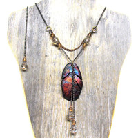 Feather Raku Pottery Pendant Beadwork Necklace Eco Friendly - Metallic Copper Beadwork Jewelry, Ceramics and Pottery, Made in USA