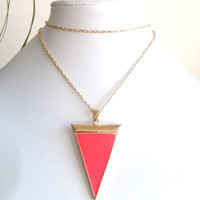 Neon Orange Geometric Necklace