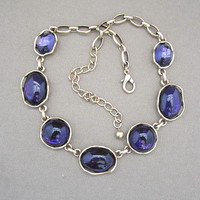Purple Glass Cabochon Vintage Strand Necklace