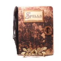 Halloween Spell Book Spells and Incantations, Spell Journal, Faux Leather, Fun Halloween Journal Primitive Aged Look