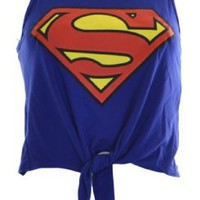 Amazon.com: Womens Blue Superman Tie up Crop Top: Clothing