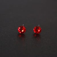 Small Stud Earrings, Swarovski Rhinestone red Studs, Surgical Steel Studs